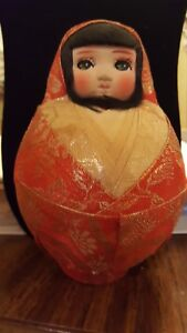 Japanese Daruma Doll Kimono Tumbling Roly Poly Figure Used Excellent Condition
