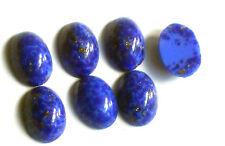 Vintage Cabochons, Cobalt Blue Matrix Smooth NOS Oval 10x14mm Navy Foil #1466