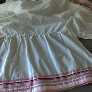 Pottery Barn Teen White Ruffled Bedskirt Pink Ribbon Hemline FULL- Split Corners