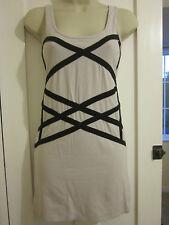 Ladies Size 8 Topshop pale grey black braided long sleeveless vest top unusual