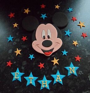 HANDMADE MICKEY MOUSE STARS PERSONALISED BIRTHDAY CAKE TOPPER DECORATION