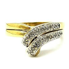 Twin 9ct Gold Diamond Stacking Rings Hallmarked Size UK L, US 6