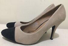 Size AU 9 / EUR 40 Women's Suede 2 Tone Colour Black & Brown High Heel Shoes
