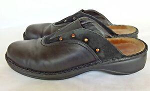 Naot Size 40 Clogs US 9 Black Slide Leather Suede Israel