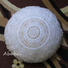 "28"" Golden Mandala Floor Pillow Cushion Ottoman Covers Round Floor Pillow Covers"