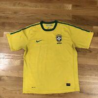 BRAZIL Soccer Jersey Shirt CBF Football Futbol Nike Yellow Dri-Fit Large L Worn