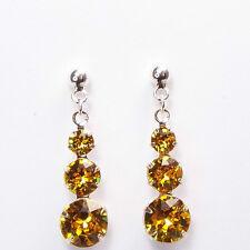 Damen Ohrringe 925 Sterling Silber Swarovski Kristalle Hänger 24 mm Sonnen Gelb