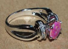 fire opal topaz ring gemstone silver jewelry 6.5 7.5 cocktail engagement band E4