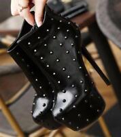 Punk Ladies Round Toe Rivets Ankle Boots Super High Heel Platform Stiletto Shoes