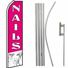 Nails Pink / White Swooper Flag & 16ft Flagpole Kit/Ground Spike
