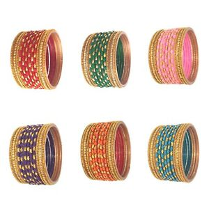 2-10 Size Indian Traditional Designed Glass Bangles 12 pcs Set for Women