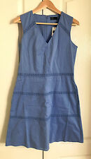 GAP Women Dress 6 V-neck Fit & Flare Light Blue Cotton Crochet Lined Tiered New