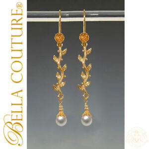$500 NEW BC® ANTIQUE VICTORIAN 18K GOLD TAHITIAN PEARL DANGLE DROP EARRINGS 24K
