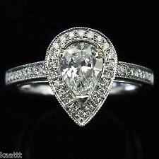 Pear Brilliant Diamond 14k White Gold Halo Engagement Ring Estate Wedding