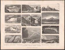 1870 Gravure originale météorologie glaciers aurore boréale arc en ciel