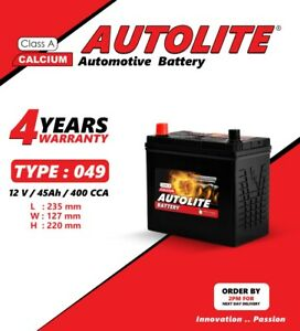 Autolite Car Battery Type 043  049  159  057 45Ah 400cca Sealed 4YEARS WARRATY
