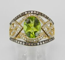 14K Yellow Gold Fancy Diamond and Peridot Engagement Wide Cocktail Ring Size 7