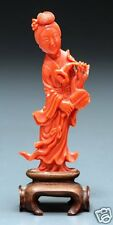 Estate Chinese carved red coral Guan yin Figure with Stand