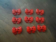 9 BOUTONS - NOEUD -  ROUGE - 2 trous - hauteur 1,2 cm