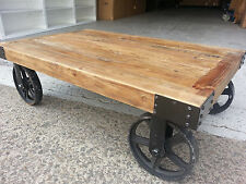 NEW INDUSTRIAL RECYCLED VINTAGE RUSTIC TIMBER COFFEE TABLE with Wheels