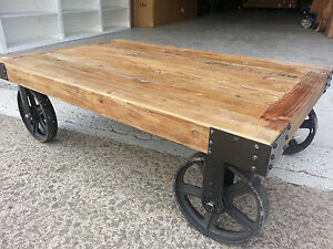 NEW INDUSTRIAL VINTAGE RUSTIC TIMBER COFFEE TABLE with Wheels