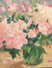Peonies  Primroses in Glass vase Oil Painting 14x11 Art O/C Margaret Aycock