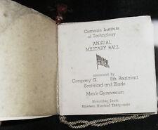 1938 Leather Wallet Dance Book Card Carnegie Mellon Tech Scabbard Military Ball