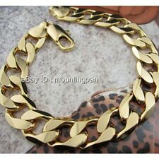 "Thick 9.0""/12mm 24k Yellow Gold Filled Mens Bracelet Single Curb Chain"