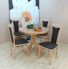 Essgruppe 5-tlg. Auszugtisch rund Stühle Esstisch Farbe: Buche-Natur/Schoko