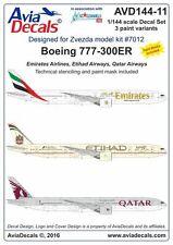 Avia Decals 1/144 Boeing 777-300ER Emirates / Etihad / Qatar + Stencils + Masks