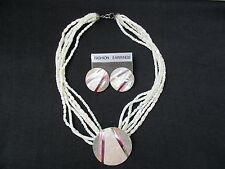 Mother of Pearl Choker Necklace with Pendant and Pierced Earrings
