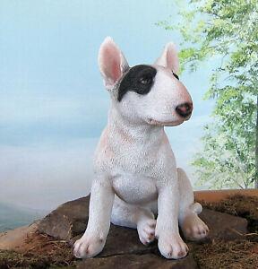 Bullterrier H:33cm Figur Deko Bully Pitbull natürlich Garten Gartenfigur Hund