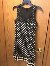 Nanette Lapore Black Dinner Dress Polka Dots Trim At Hemline Sz 4