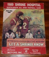 1989 SHRINE HOSPITAL NORTH-SOUTH ALLSTAR FOOTBALL GAME OFFICIAL SOUVENIR PROGRAM