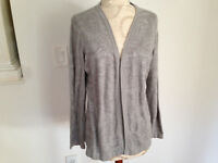 Chicos Silver Gray Cotton Blend Knit Womens Long Sleeve Open Sweater Size 1