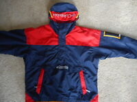 Vintage Columbia Jacket Coat Color Block Pullover Red Blue Hooded Mens 90's XL