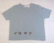 Blair Boutique Womens Embroidered Ramie Blue T Shirt Sz Med PT Petite