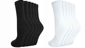 3, 12 Pairs Men`s Women Ladies Girls Ankle Socks Cotton Plain BLACK/WHITE Socks
