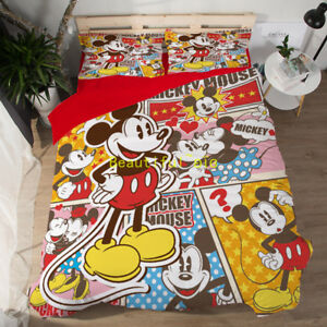 Mickey Mouse Single/Double/Queen/King Size Bed Quilt/Doona/Duvet Cover Set
