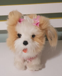FURREAL TEA CUP PUP DOG PINK BOWS YORKIE? BOWS AND BARKS! 18CM LONG! BROWN WHITE
