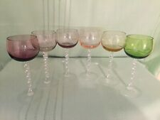 """Wine Glasses with clear twisted stems - 6"""" tall - set of 6"""