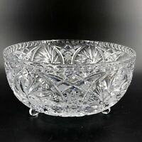 Vintage Brilliant Cut Glass  3 Footed Candy Bowl Clear Crystal Star Pattern 8X4