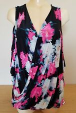 Jennifer Lopez Cold shoulder draped Vibrant colors top S, 1XL NWT