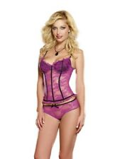 Dreamgirl Orchid and Black Bustier and Panty Set, Size L, 14-16
