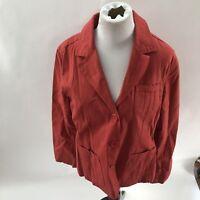 womens red EDDIE BAUER blazer jacket Size Large