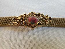 Vintage goldtone mesh bracelet, rose embroidery