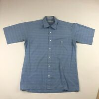 Vintage Christian Dior Mens Blue Striped Button Front Short Sleeve Shirt Medium