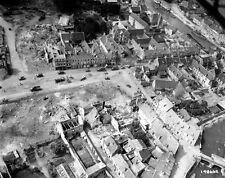 WWII Photo Destroyed French Town Recon Photo World War 2 WW2 Normandy / 1182
