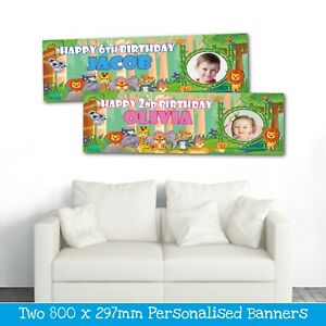 2 PERSONALISED JUNGLE PHOTO BANNERS - AVAILABLE PINK OR BLUE - ANY NAME/AGE