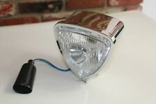 Triange Headlamp Light Chrome Round Back Custom Motorcycle Chopper Bobber Harley